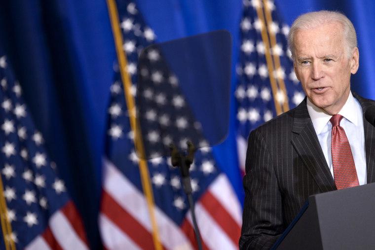 Vice President Joe Biden speaks during an event on April 9, 2015 in Washington, D.C. (Photo by Brendan Smialowski/AFP/Getty)