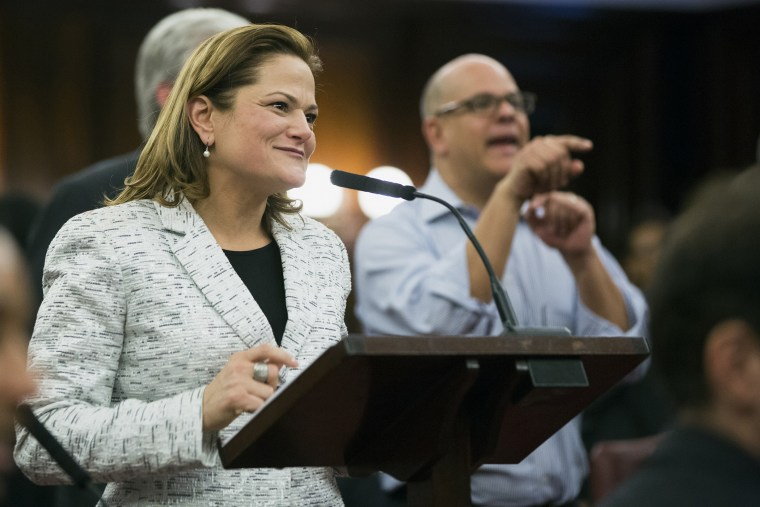 New York City councilwoman Melissa Mark-Viverito smiles as she speaks after being elected speaker of the city council inside of City Hall in the Manhattan borough of New York on Jan. 8, 2014. (Photo by Lucas Jackson/Reuters)