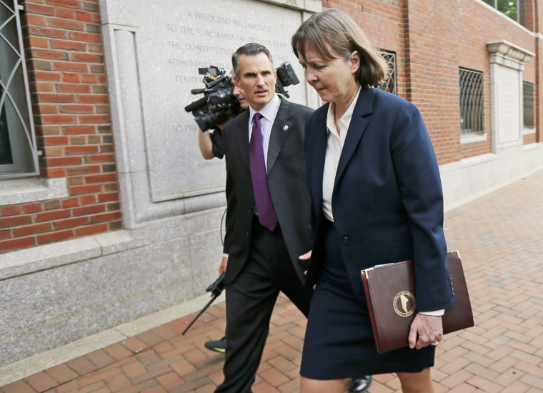 Judy Clarke (R), defense attorney for Boston Marathon bomber Dzhokhar Tsarnaev, walks out of the federal courthouse in Boston, Mass. on May 15, 2015. (Photo by Brian Snyder/Reuters)