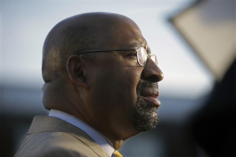 Philadelphia Mayor Michael Nutter listens to a question on May 14, 2015, in Philadelphia, Pa. (Photo by Mel Evans/AP)