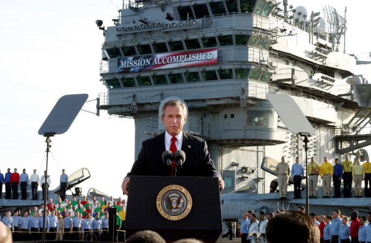 President Bush declares the end of major combat in Iraq as he speaks aboard the aircraft carrier USS Abraham Lincoln off the California coast, in this May 1,this May 1, 2003 file photo. Democratic congressional leaders on Tuesday, May 1, 2007 sent Iraq...
