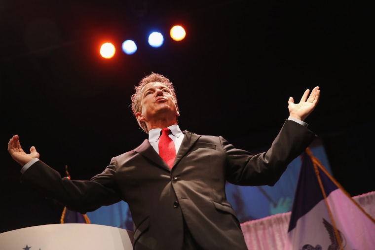 Senator Rand Paul (R-Ky.) speaks to guests at the Iowa Faith and Freedom Coalition 2015 Spring Kickoff on April 25, 2015 in Waukee, Iowa. (Photo by Scott Olson/Getty)