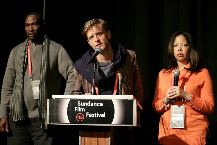 "Jordan Davis' parents, Lucia McBath and Ron Davis, and director Marc Silver speak at the ""3 1/2 Minutes"" premiere during the 2015 Sundance Film Festival on Jan. 24, 2015 in Park City, Utah. (Photo by Chelsea Lauren/Getty)"