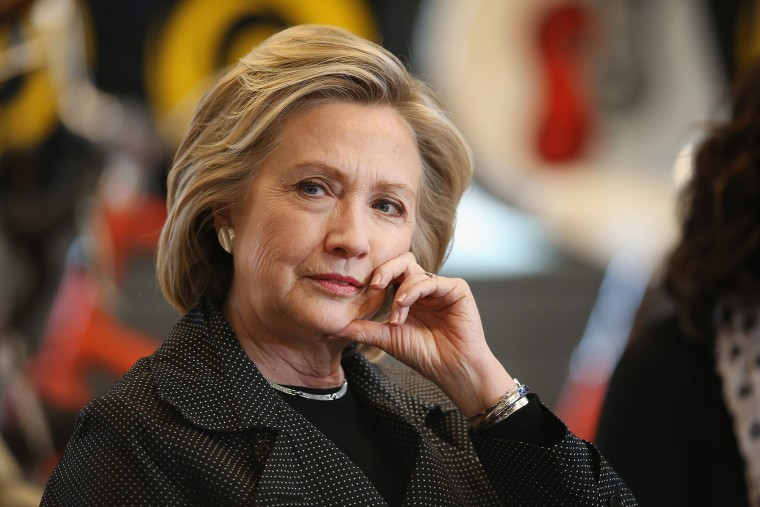Democratic presidential hopeful and former Secretary of State Hillary Clinton hosts a small business forum at Bike Tech bicycle shop on May 19, 2015 in Cedar Falls, Iowa. (Photo by Scott Olson/Getty)