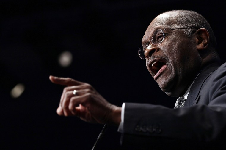 Herman Cain addresses the annual Conservative Political Action Conference (CPAC) February 9, 2012 in Washington, D.C. (Photo by Win McNamee/Getty)