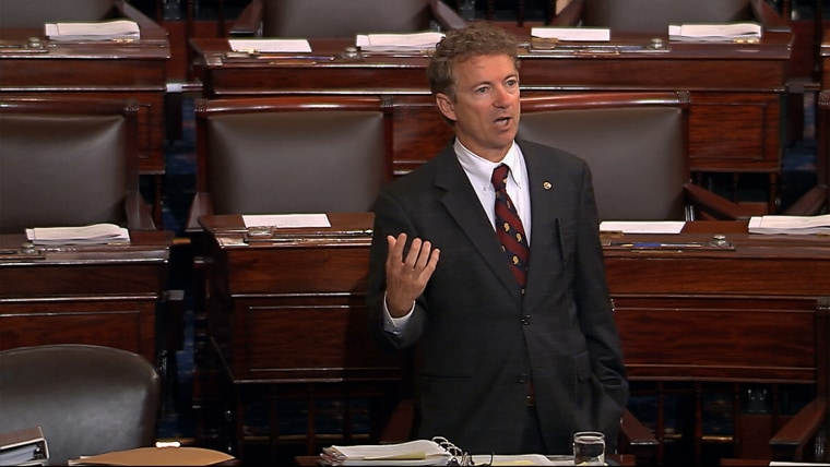 Sen. Rand Paul, R-Ky., and a Republican presidential contender, speaks on the floor of the U.S. Senate, May 20, 2015, at the Capitol in Washington, during a long speech opposing renewal of the Patriot Act. (Photo by Senate TV/AP)
