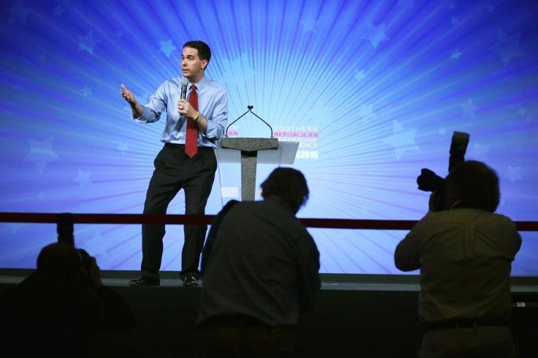 Republican presidential hopeful Wisconsin Governor Scott Walker speaks during the 2015 Southern Republican Leadership Conference on May 21, 2015 in Oklahoma City, Okla. (Photo by Alex Wong/Getty)