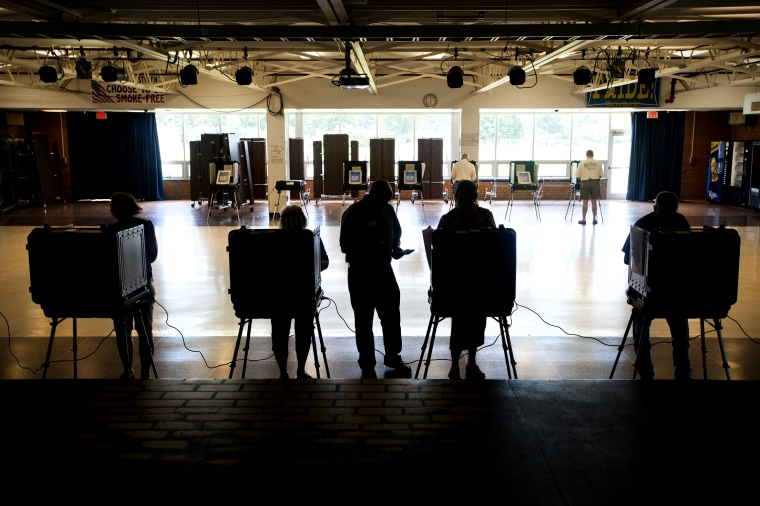 A steady stream of voters cast ballots during the primary in the Walkersville Middle School cafeteria June 24, 2014 in Walkersville, Md. (Photo by Katherine Frey/The Washington Post/Getty)
