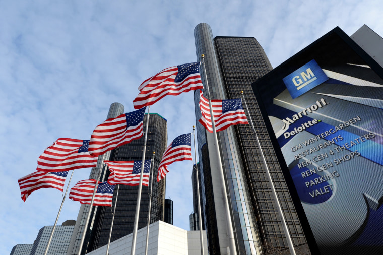 General Motors headquarters in the Renaissance Center are seen on Jan. 14, 2014 in Detroit. (Photo by Stan Honda/AFP/Getty)