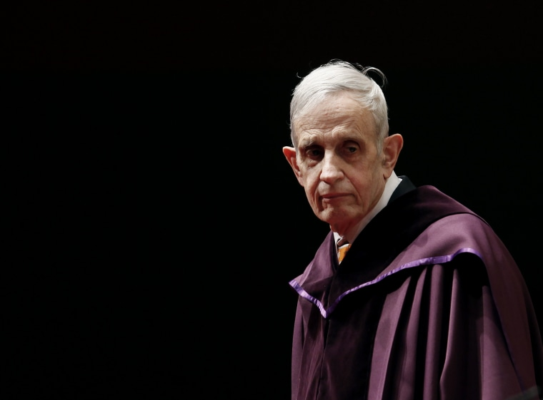 U.S. mathematician and Nobel Laureate John Nash, 83, stands on the podium as he receives an Honorary Doctor of Science at the City University of Hong Kong Nov. 8, 2011. (Photo by Bobby Yip/Reuters)