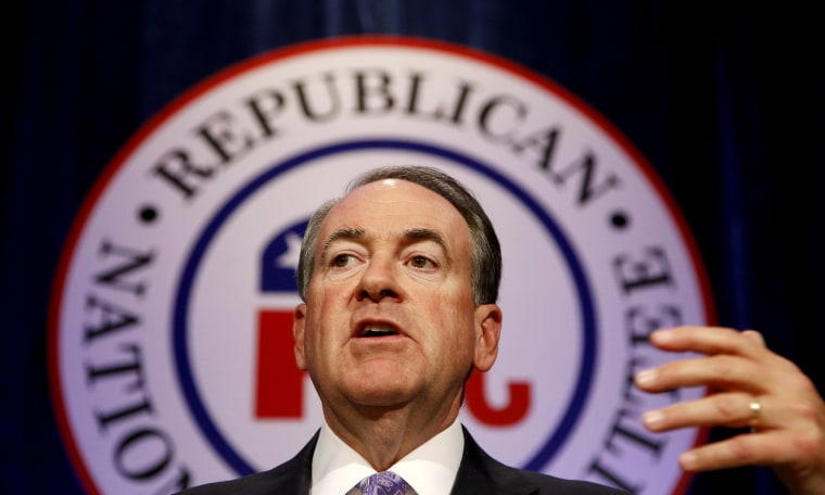 Republican presidential candidate and former Arkansas Gov. Mike Huckabee speaks at the Republican National Committee spring meeting luncheon, May 15, 2015, in Scottsdale, Ariz. (Photo by Ross D. Franklin/AP)