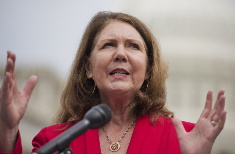 Rep. Ann Kirkpatrick, D-Ariz., speaks during a news conference at the House Triangle in Washington. (Photo by Tom Williams/CQ Roll Call/Getty)