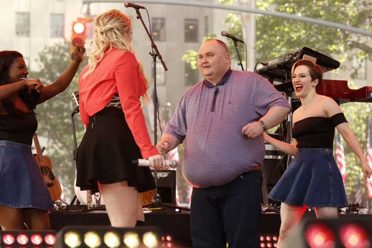 """Meghan Trainor (L) and Sean O' Brien (R) appear on NBC News' """"Today"""" show. (Photo by Peter Kramer/NBC/NBC NewsWire/Getty)"""