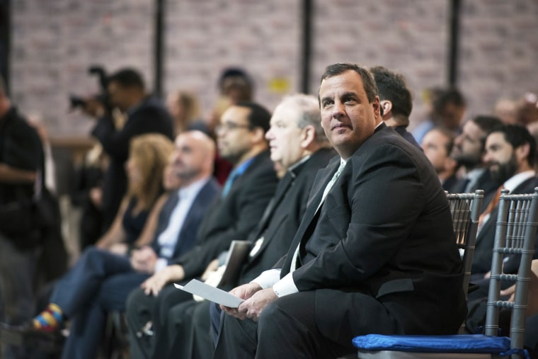 Chris Christie, governor of New Jersey, waits to speak at the official ribbon-cutting ceremony for the new Goya Foods Inc. corporate headquarters in Jersey City, N.J. on April 29, 2015. (Photo by Ron Antonelli/Bloomberg/Getty)