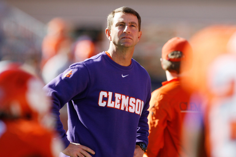 Head Coach Dabo Swinney of the Clemson Tigers looks on prior to their game against the South Carolina Gamecocks at Memorial Stadium on Nov. 29, 2014 in Clemson, S.C. (Photo by Tyler Smith/Getty)