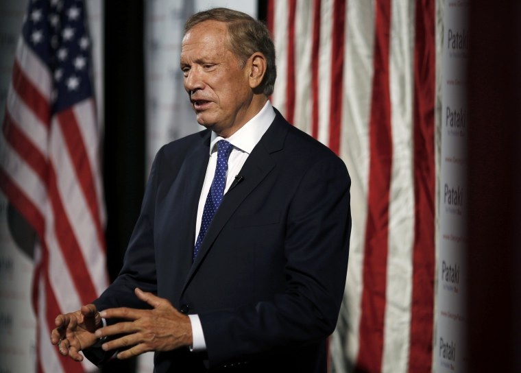 Republican presidential candidate and former New York Governor Pataki is interviewed prior to announcing candidacy for the 2016 Republican presidential nomination during event in Exeter, New Hampshire