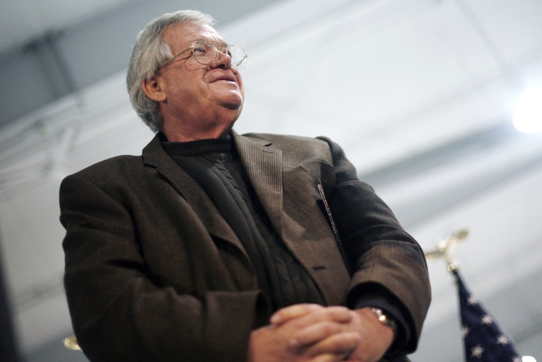 Former Representative J. Dennis Hastert (R-IL) listens at an event in Cedar Rapids, Iowa January 2, 2008. (Photo by Keith Bedford/Reuters)