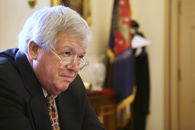 Former Speaker of the House, Rep. J. Dennis Hastert in his office in Washington D.C. on March 23, 2007. (Photo by Doug Mills/The New York Times/Redux)