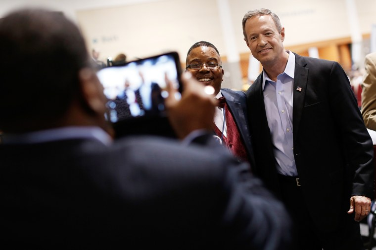 Potential Democratic presidential candidate and former Maryland Gov. Martin O'Malley greets South Carolina Democrats after speaking at the South Carolina Democratic Party state convention April 25, 2015 in Columbia, S.C. (Photo by Win McNamee/Getty)