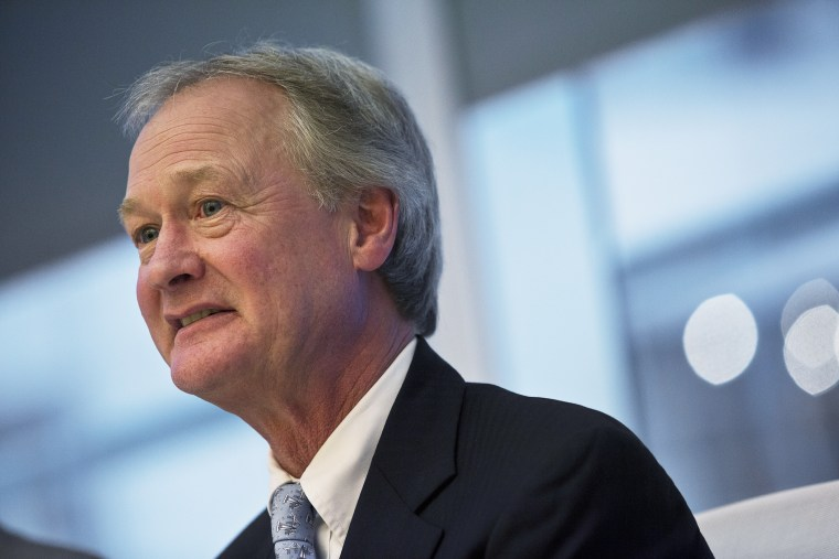 Lincoln Chafee, governor of Rhode Island, speaks during an interview in N.Y. on April 29, 2013. (Photo by Victor J. Blue/Bloomberg/Getty)