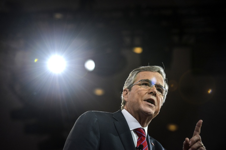 Jeb Bush addresses a packed house during CPAC2015 (Conservative Political Action Conference) at the National Harbor Gaylord on Feb. 27, 2015, in Oxon Hill, Md. (photo by Jahi Chikwendiu/The Washington Post/Getty)