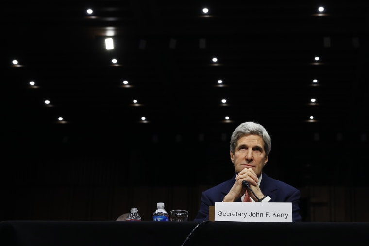 U.S. Secretary of State John Kerry testifies at a Senate hearing in Washington on March 13, 2014. (Photo by Kevin Lamarque/Reuters)
