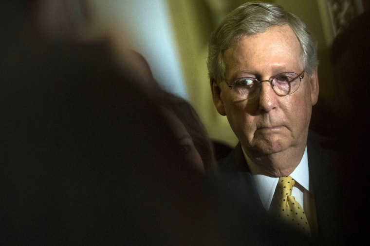 Senate Majority Leader Mitch McConnell (R-KY) waits to speak during a news conference on Capitol Hill, April 28, 2015 in Washington, D.C. (Photo by Drew Angerer/Getty)