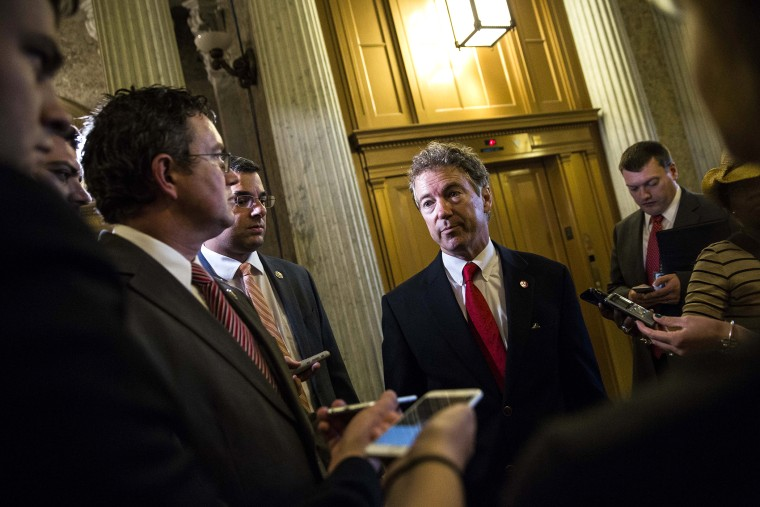 Sen. Rand Paul (R-KY), after speaking on the Senate floor about surveillance legislation, speaks to reporters after exiting the Senate floor on Capitol Hill, May 31, 2015 in Washington, D.C. (Photo by Drew Angerer/Getty)