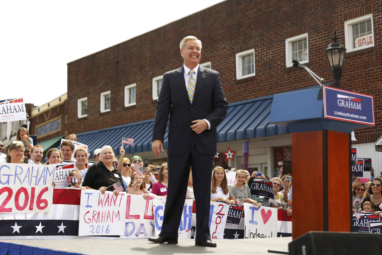 Republican presidential candidate U.S. Senator Lindsey Graham arrives onstage to formally announce his campaign for the 2016 Republican presidential nomination in Central, South Carolina June 1, 2015. (Photo by Christopher Aluka Berry/Reuters)