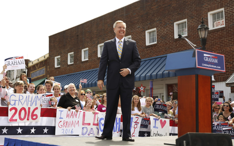 Republican presidential candidate U.S. Senator Lindsey Graham arrives onstage to formally announce his campaign for the 2016 Republican presidential nomination in Central, S.C., June 1, 2015. (Photo by Christopher Aluka Berry/Reuters)