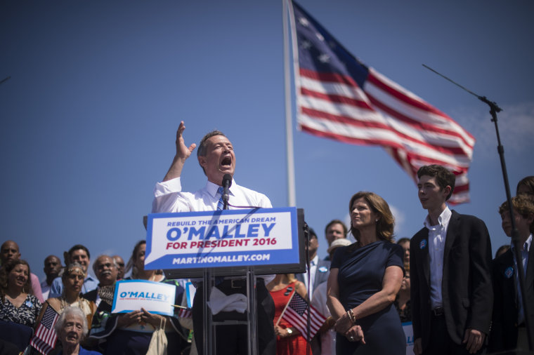 Former Maryland Gov. Martin O'Malley announces he is seeking the Democratic nomination for President of the United States of America during an event at Federal Hill Park in Baltimore, Md., May 30, 2015. (Photo by Jabin Botsford/The Washington Post/Getty)