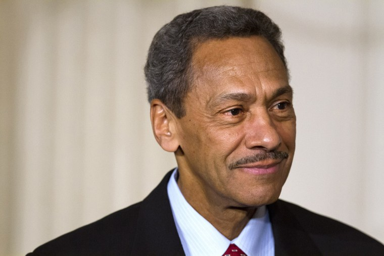 Federal Housing Finance Authority Director nominee Rep. Mel Watt, D-N.C., listening as President Barack Obama announces Watt's nomination for the, in the State Dining Room of the White House in Washington, May 1, 2013.