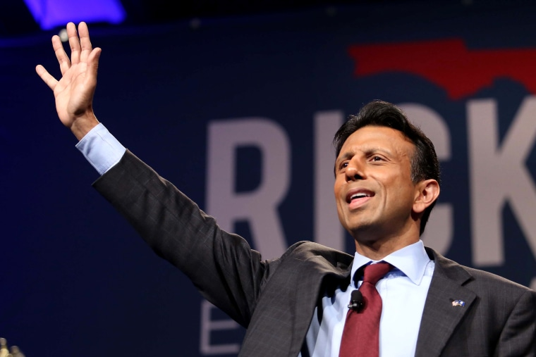 Louisiana Gov. Bobby Jindal waves to the crowd during Florida Gov. Rick Scott's Economic Growth Summit on June 2, 2015, at the Yacht & Beach Club Convention Center at Walt Disney World. (Photo by Joe Burbank/Orlando Sentinel/TNS/Getty)