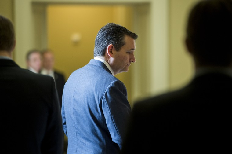 Sen. Ted Cruz, R-Texas, arrives for the Senate Republicans' lunch in the Capitol, May 13, 2015. (Photo By Bill Clark/CQ Roll Call/Getty)