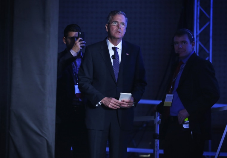 Republican presidential hopeful and former Florida Governor Jeb Bush waits to be introduced during the 2015 Southern Republican Leadership Conference May 22, 2015 in Oklahoma City, Okla. (Photo by Alex Wong/Getty)