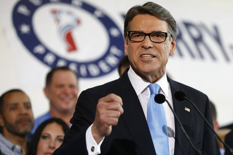 Former Texas Governor Rick Perry speaks to supporters after announcing that he will run for president in 2016 June 4, 2015 in Dallas, Texas. (Photo by Ron Jenkins/Getty)