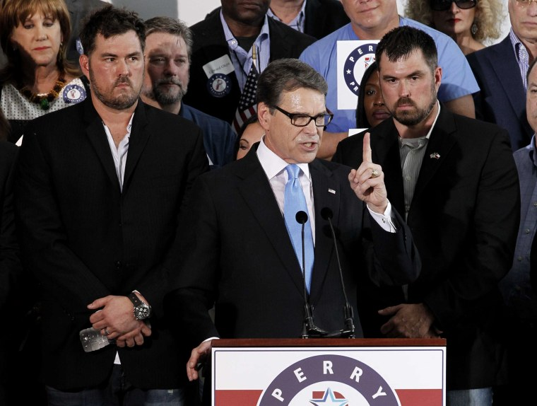 Republican presidential candidate and former Texas Governor Rick Perry formally announces his candidacy for the 2016 Republican nomination for president at an event in Addison, Texas, June 4, 2015. (Photo by Mike Stone/Reuters)