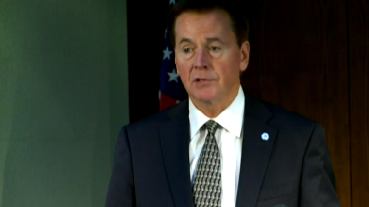Screen grab from a televised press conference given by Akron Mayor Garry Moneypenny, following his announcement not to seek election in November. (Photo courtesy of WKYC-TV)