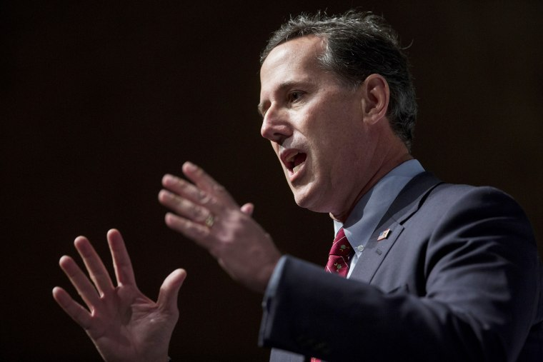 Rick Santorum, former Republican senator of Pennsylvania, speaks during the South Carolina Freedom Summit in Greenville, S.C. on May 9, 2015. (Photo by Andrew Harrer/Bloomberg/Getty)