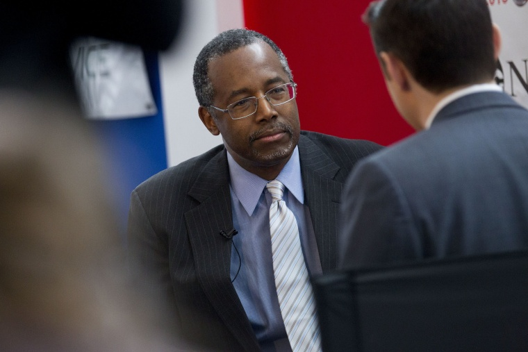 Ben Carson listens to a question during an interview during the Conservative Political Action Conference (CPAC) in National Harbor, Md. on Feb. 26, 2015. (Photo by Andrew Harrer/Bloomberg/Getty)
