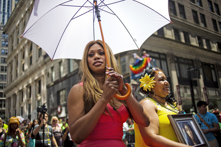 Laverne Cox at the 2014 Gay Pride March on June 29, 2014 in New York City. (Photo by Eric Thayer/Getty)