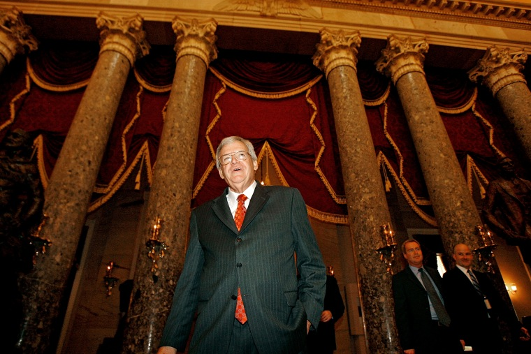 Former Speaker of the House Dennis Hastert (R-IL) walks through Statuary Hall after delivering his farewell address to Congress Nov. 15, 2007 in Washington, DC. (Photo by Chip Somodevilla/Getty)
