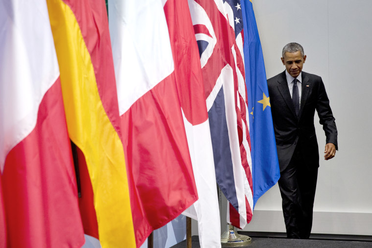 President Barack Obama arrives to speak at a news conference at the G-7 summit in Schloss Elmau hotel near Garmisch-Partenkirchen, southern Germany, June 8, 2015. (Photo by Carolyn Kaster/AP)