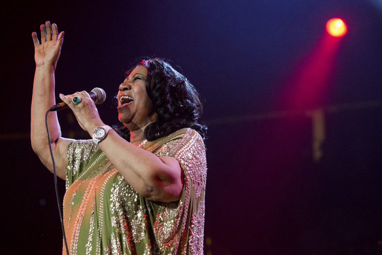In this May 11, 2013 photo, Aretha Franklin performs during an event at the Prudential Center in Newark, N.J. (Photo by Charles Sykes/Invision/AP)