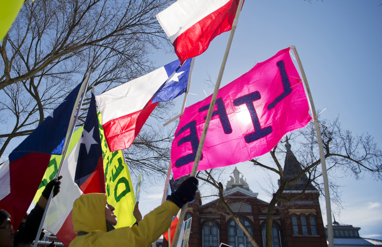 A group from Texas display their flags during a rally on the Mall for the March for Life anti-abortion demonstration. (Photo By Tom Williams/CQ Roll Call/Getty)