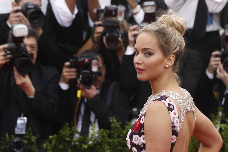 "Actress Jennifer Lawrence arrives at the Metropolitan Museum of Art Costume Institute Gala 2015 celebrating the opening of ""China: Through the Looking Glass,"" in Manhattan, New York May 4, 2015. (Photo by Lucas Jackson/Reuters)"
