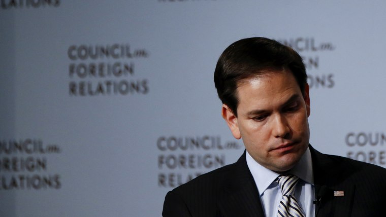 U.S. Republican presidential candidate Senator Marco Rubio (R-FL) listens to a question at the Council on Foreign Relations in New York May 13, 2015. (Photo by Shannon Stapleton/Reuters)
