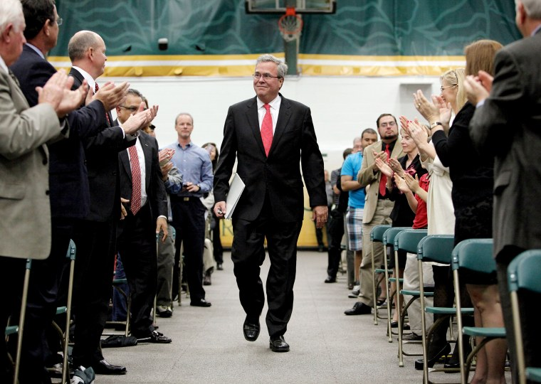 "Jeb Bush is greeted with a standing ovation in the Marion Bowman Activities Center at Saint Leo University, following his introduction before his speech ""Leading in a Climate of Change"", June 3, 2015. (Photo by Brendan Fitterer/Tampa Bay Times/AP)"