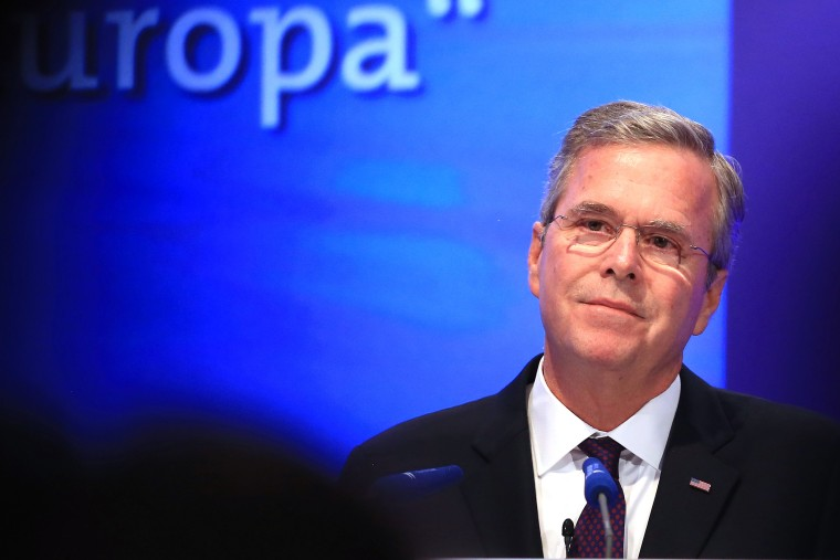 Jeb Bush, former governor of Florida, pauses as he speaks during the Wirtschaftsrat conference in Berlin, Germany, on June 9, 2015. (Photo by Krisztian Bocsi/Bloomberg/Getty)