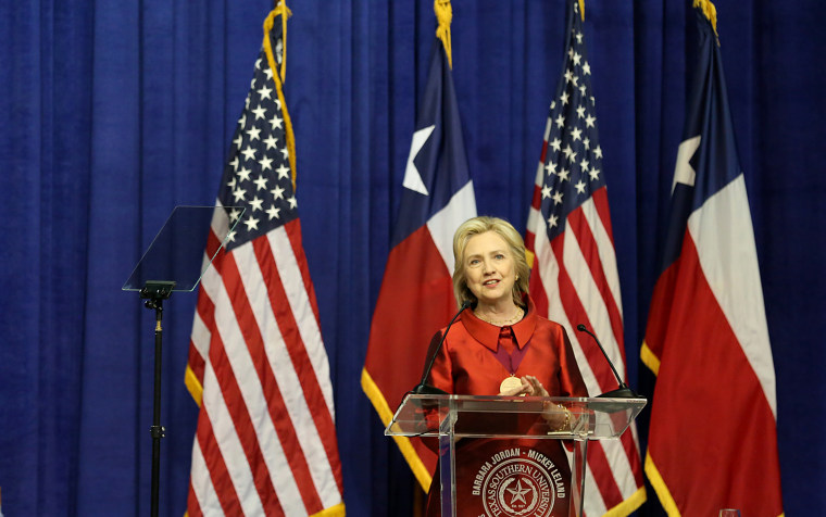 Hillary Clinton at the Inaugural Barbara Jordan Gold Medallion Awards at Texas Southern University, June 4, 2015. She urged swift action to restore the Voting Rights Act and replace provisions struck down by the Supreme Court. (Photo by Thomas Shea/Getty)
